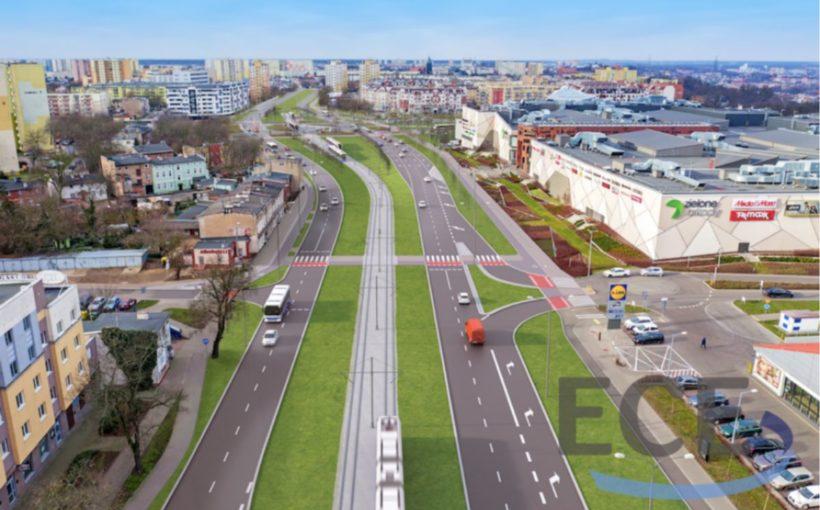 Poland Roads and tramlines for Zielone Arkady in Bydgoszcz