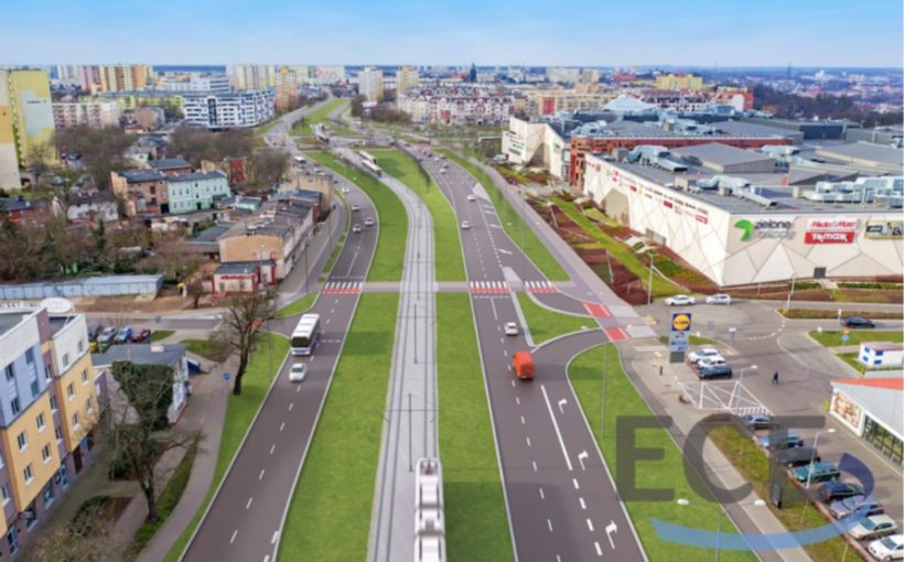 Poland Roads and tramlines for Zielone Arkady in Bydgoszcz