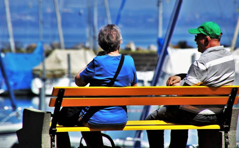Old Couple siting on the bench